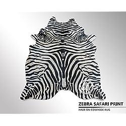 ALFOMBRA DE PIEL DE VACA Cebra Safari Estampada 150 x 210 cm – Calidad Premium de PIELES DEL SOL