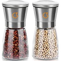 Gritin Gewürzmühle, [Set of 2] Premium Stainless Steel Salt and Pepper Mills - Glass Body, Adjustable Coarseness, and Brushed Stainless Steel Salt and Pepper Shakers