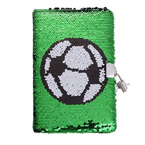 toyandona - cuaderno de lentejuelas con diseño de fútbol, con calendario de notas, con cerradura para diario, viajes, escuela, estudiante, oficina, color verde
