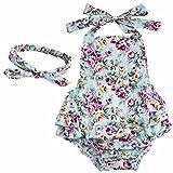 YiZYiF Baby Kleinkind Spielanzug Overall Bodies Anzug Mädchen Bekleidung Set mit Stirnband Blau + Rose 12 Monate