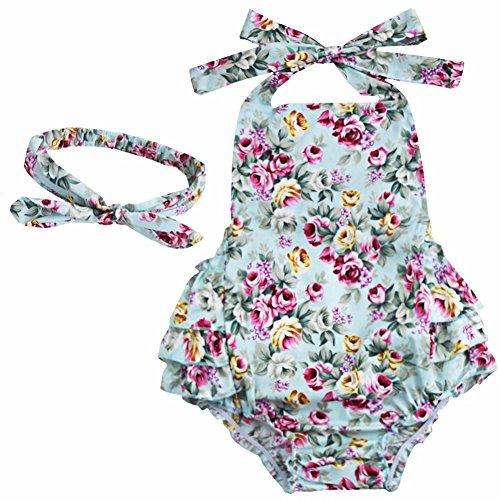 YiZYiF Baby Kleinkind Spielanzug Overall Bodies Anzug Mädchen Bekleidung Set mit Stirnband Blau + Rose 24 Monate