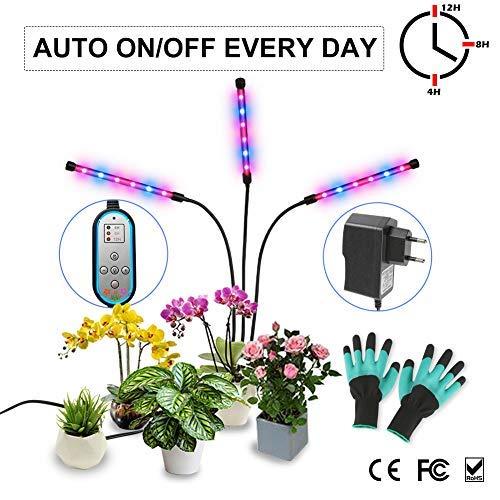Lámpara de Plantas 36W Lluminación para Plantas Función de Temporizador Cíclico Laluztop Lámpara LED Plantas Crecimiento Interior 8 Niveles Regulables 3 Modos de Lluminación Cuellos de Ganso Flexibles