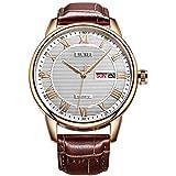 BUREI Mens Simple Luxury Day Date Armbanduhren mit Analog Quarz Zifferblatt römischen Ziffern Lederband (Braun2)