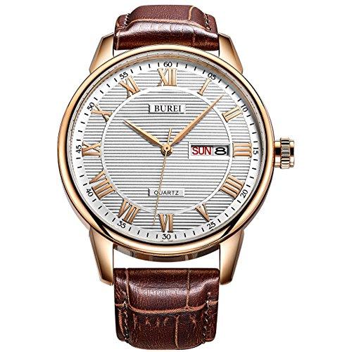 BUREI Herren Armbanduhren Herren Business Datum und Tag Anzeige Analog Quarzuhr römischen Ziffern Zeiger braun weichen Lederband -