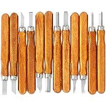 Cinceles para Madera, iSwank Juego de Cinceles 12 tipos 14 cm Gubias Cuchillos Herramientas para Tallar Madera Cera Aceituna Nuez Arcilla para Principiantes