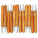 iSwank 12 Pz. Set Scalpelli Coltello da Intaglio Sgorbie per Manico Scultura Intaglio Legno Linoleum Noce Olivo Argilla e Cera