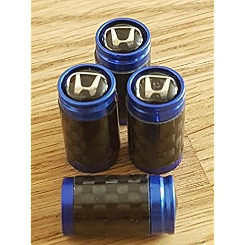 Honda Black Top Fibra de Carbono y Azul Válvula de rueda Dust Caps Exclusivo Para US TODOS LOS MODELOS Jazz Civic tipo R HR-V CR-V NSX