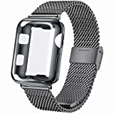 INZAKI Correa con Funda para Apple Watch 40mm, Malla de Acero Inoxidable Correa de Bucle con...