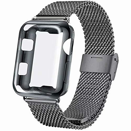INZAKI Kompatibel für Apple Watch Armband mit Hülle 42mm, Edelstahl Netz Schlaufen Armband mit Displayschutz Schlankes case für iWatch Series 3/2 / 1, Sport, Edition,Space grau