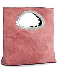 BHBS Femmes Plaine de Cuir Suédé Poignée Pliable Soirée Embrayage Sac à Main de Mariage 15x25x7 cm (LxHxP)