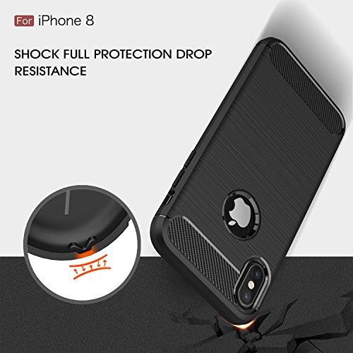 Coque iPhone X, iPhone X case, KuGi [Shock Absorption] Ultra Doux Housse Etui TPU Silicone coque avec Fibre de Carbone pour Apple iPhone X Smartphone (Noir) Noir