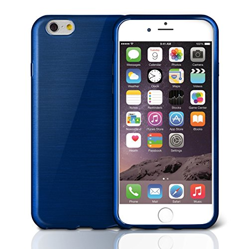 iPhone 5C Hülle Silikon Schwarz [OneFlow Brushed Back-Cover] TPU Schutzhülle Ultra-Slim Handyhülle für iPhone 5C Case Dünn Silikonhülle Rückseite Tasche NAVY-BLUE