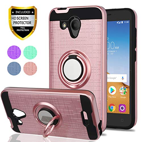 Alcatel Tetra 5041C Case,Alcatel IdealXCITE/Alcatel CameoX/Verso/Ideal  Exite/5044R Case,YmhxcY 360 Degree Rotating Ring & Bracket Dual Layer  Resistant