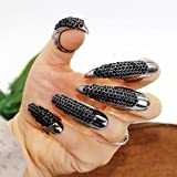 10st Gothic Punk Stil falsche Nägel Krallen Pfote Talon Finger Ringe Cosplay Dekoration (schwarz)