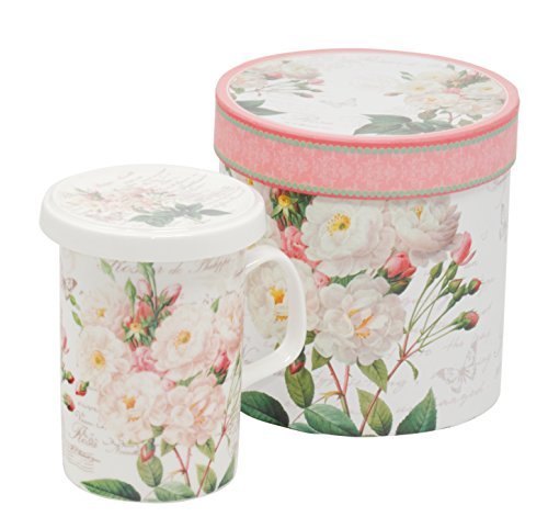 Tee-Tasse Teebecher Set mit Sieb und Deckel Porzellan Kräuter-Teetasse Geschenk-Tasse Cup with porcelain infuser 300 ml von DUO in Geschenkbox (White Rose) White Rose Tasse