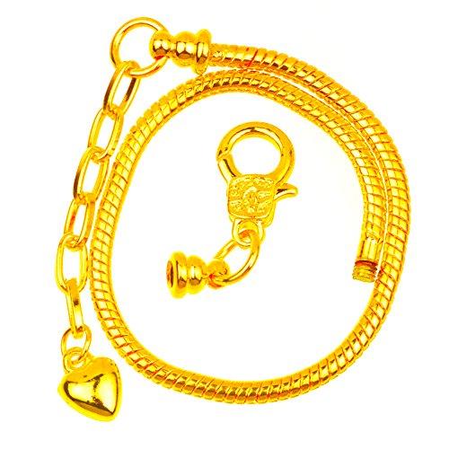 (rubyca 100Hummer europäischen Stil, Schlange Kette Armbänder für Charm-Perlen 16–23cm wählen Größe Farbe)
