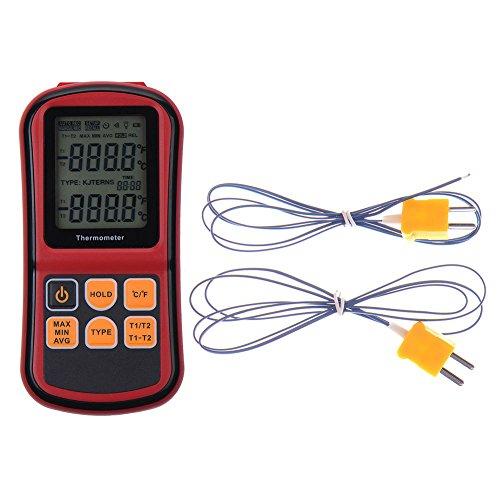 RGBs Dual Channel Digitales Thermometer mit zwei K-Typ Thermoelemente Temperatur Messgerät mit LCD Hintergrundbeleuchtung für K/J/T/E/R/S/N Thermoelement, für Industrie, Landwirtschaft, Meteorologie und Leben etc. (Thermoelement Führen)