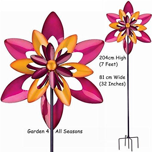 81,3 cm Large Starflower Triple Lame Kinetic Vent Spinner Attrape soleil piquet de jardin Creekwood (Regal Art & cadeau). Grand 204 cm (7 pieds) de haut, 81 cm (81,3 cm Large). 5-pronged Fourche solide/piquet