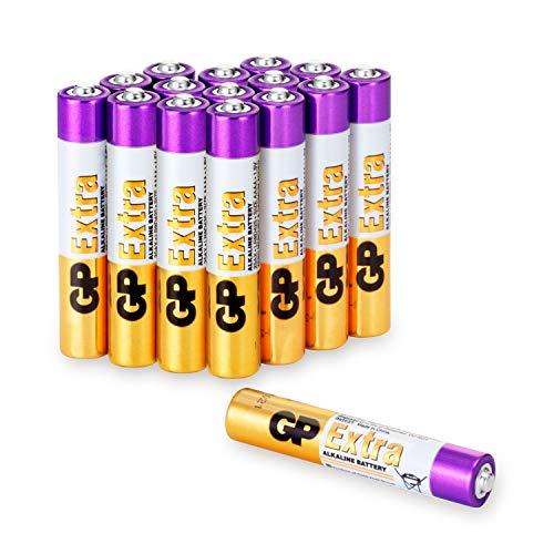 GP Extra Alkaline Batterien Typ AAAA (Mini / LR61) Spannung 1,5V, ideal für die Stromversorgung von Geräten des täglichen Bedarfs (Pack mit 16 Stück) -