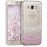 kwmobile Funda TPU silicona transparente para Samsung Galaxy J5 (2016) DUOS en rosa claro blanco transparente Diseño sol indio
