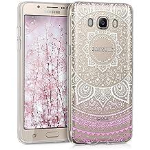 kwmobile Funda para Galaxy J5 (2016) DUOS Samsung - Case de cristal para móvil en TPU silicona - Cover trasero de cristal Diseño sol indio rosa claro blanco transparente