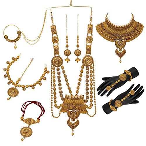 Nishivjewels Traditional Gold lct jodha Akbar Wedding dulhan Bridal Set for Women