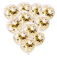 12 PCS Gold Confetti Balloons Bulk, 12 inches Giant Metallic Confetti Filled Round Balloon Set, for Party, Wedding, Birthday Decoration, Air and Helium Can Be Filled