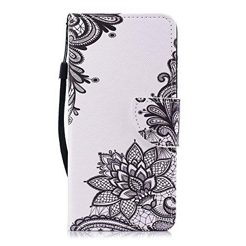 Misteem Coque pour iPhone 6S Plus, Flip Case Couverture Créatif Motif Wallet Étui avec Support Carte Portefeuille Fermeture Magnétique Housse pour iPhone 6 Plus (Mandala Noir)