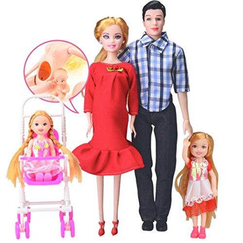 Barbie Kostüm Schwangere - HKFV Kleid echte schwangere Puppe Mama & Papa & Tochter Familie Spielzeug Set für Schwangerschaft Puppe Satz von 6 Sätzen von fünf blau Pregnant Doll (Rot)