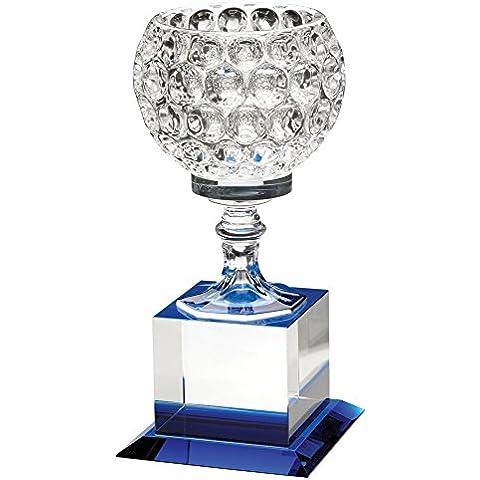 Copa trofeo montado en Base de cristal transparente con azul Highlights, 8,5