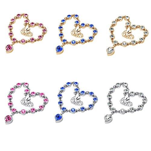 LUFA Ladies Women Metal Beads Rhinestone Bracelet Bangles Exquisite Heart Bracelets Gold+pink&20*3cm