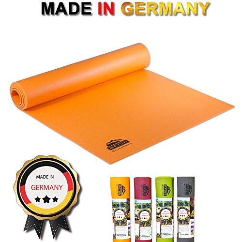 Mayon Yoga & Fitness Profi Premium Yogamatte - Rutschfest, umweltfreundlich & schadstofffrei nach ÖKO TEX 100 - ORANGE 183 x 60 x 0,45 cm, PVC/Glasgarngewebe & Maschinenwaschbar bis 60º C