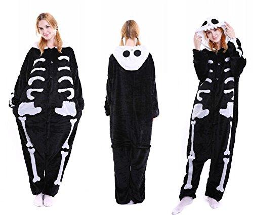 Unisex Halloween Skelett Skeleton Onesie Kigurumi Pyjama Karneval Kostüm Maskenkostüm Kapuzenpulli Schlafanzüge XL(Height 180cm-190cm)