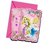 Disney Prinzessinnen Rapunzel, Schneewittchen und Co. 6 Einladungskarten Kindergeburtstag
