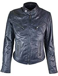 Ladies Women Genuine Real Leather Slim Fit Navy Biker Jacket