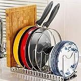 Verstellbarer Deckelhalter, Wisfruit erweiterbarer Deckelständer Küche Kochgeschirr Abtropfgestell Pfanne Topf Deckel Teller Organizer Racks 7 Dividers-FBA