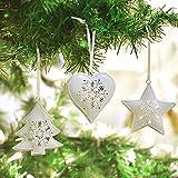 Victor's Workshop 6 Set 7 cm Weihnachtsbaum Metall Anhänger Dekoration in Baum/Stern/Herzform Fenster und Türgesteck Dekoration Gefrorener Winter