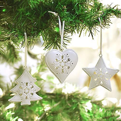 Victor's Workshop 6 Set 7 cm Weihnachtsbaum Metall Anhänger Dekoration in Baum/Stern/Herzform Fenster und Türgesteck Dekoration Gefrorener ()