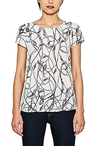 ESPRIT Collection Damen Bluse 077EO1F001, Weiß (Off White 3 112), 40