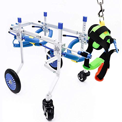 Haustier-Rehabilitations-Trainingswagen, Rollstuhl für behinderte Haustiere, Ganzkörper-Unterstützung, 4-Rad-Hunderad-verstellbarer Haustier-Hunderollstuhl, Beinrehabilitation, kostenloser Gurtsc