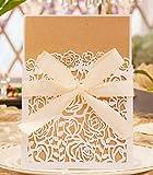 50 stück Hochzeit EinladungsKarten Hochzeitskarten Glückwunsch Einladung, Edel Elegant Geschenk Mitbringsel DIKETE Glückwunschkarten