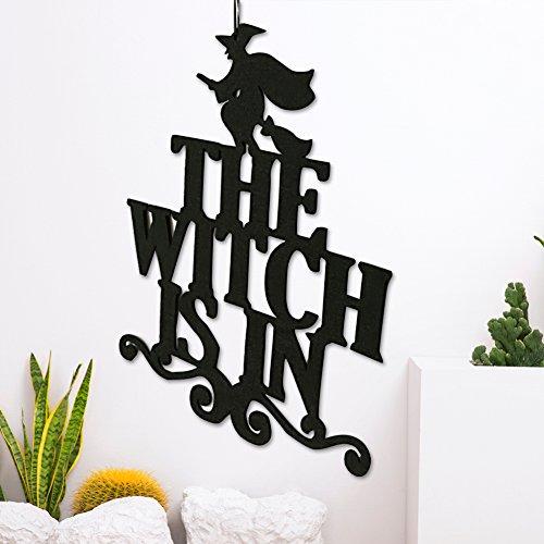 een-hängende, ist die Hexe in Halloween-Party Home Decor Non-Woven hängende Wand Tür Zeichen The Witch is In ()