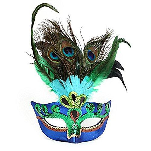 di Gras Maske für Damen Luxus-Cat Eye Half Face venezianische Maske, Pfau Kostüm Maske für Dancing Party Ball Halloween Ball Karneval Hochzeit Requisiten, eine Größe passend für alle, blau und grün (Gefiederte Maskerade Masken)