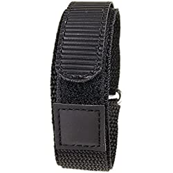 Replacement Band Watch Band Textile Strap velcro black leather 20mm 19135S