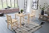 Wohnnling Esszimmer-Set: 3 teilig Kiefer-Holz im Landhaus-Stil, Essgruppe 1 Tisch 2 Stühle, Tischgruppe, Esstischset 2 Personen, Esszimmergarnit in Kiefer-Holz