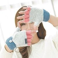 ajunt de la mitad de la Mujer Otoño y Invierno Bivalente Guantes dulce Fingerless Flip lana invierno todos los estudiantes son guantes guantes fríos, gris claro