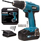 SPECIAL OFFER - MYLEK® 18V Cordless NiCd Drill Driver with LED Work Light - 13 Piece Accessory Kit with Carry Case - Forward / Reverse, Variable