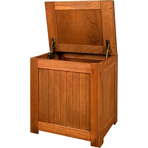 STILISTA® Gartenbank Gartenbox aus 100% FSC zertifiziertem Shorea-Hartholz, geölt, Liftautomatik, inkl. Kissen in Farbe Natur, 43 x 55 x 62 cm, Auflagentruhe