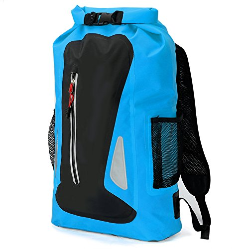 Pellor Outdoor 25L Schultertasche Wasserdichte Tasche Rucksack Bootfahren Kanufahren Trockentasche Roll-Top Verschluss (Stil 2-Blau) (Tasche 25l)