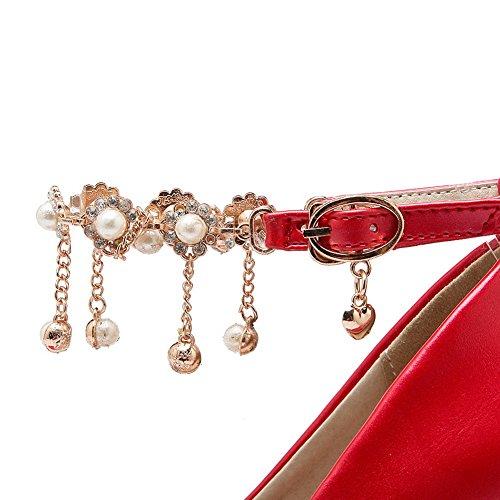 BalaMasa da donna, con borchie, scritta pompe-Scarpe in pelle Red